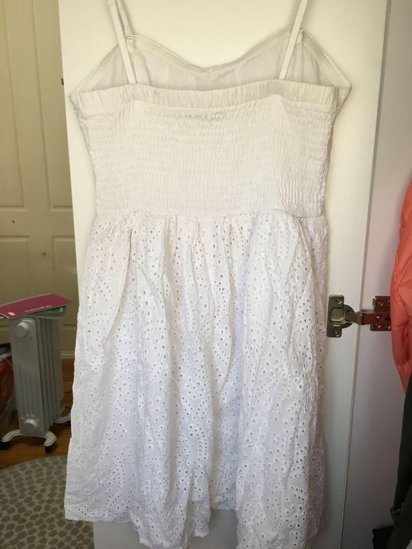 White lace broderie anglais dress strappy summer sundress
