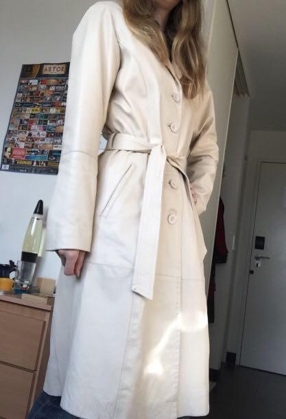 White leather trench coat long vintage 60s fashion