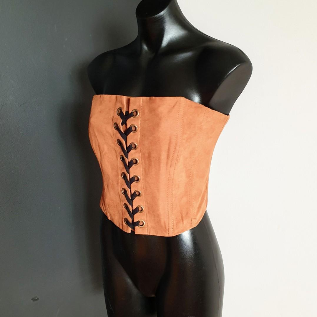 Women's size 14 'BARDOT' Stunning tan couloured suade corset top - BNWT RRP $90