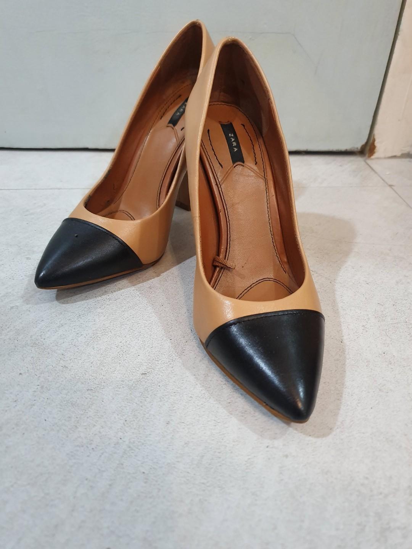 Zara Cap Toe Chunky Heels, Women's