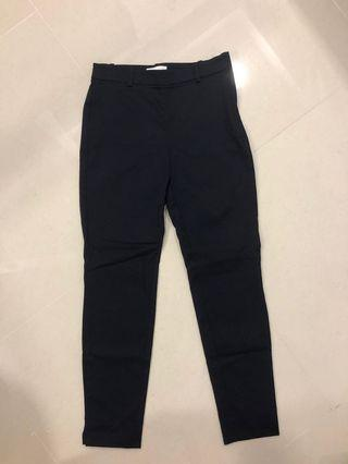 H&M navy blue high waisted formal pants