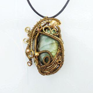 Labradorite Pendant Wire Wrap Healing Stone Jewelry Gothic Artisan Necklace