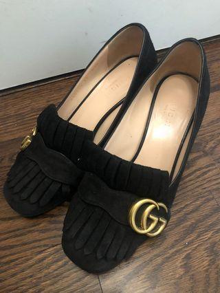 Gucci black marmont gg suede pumps
