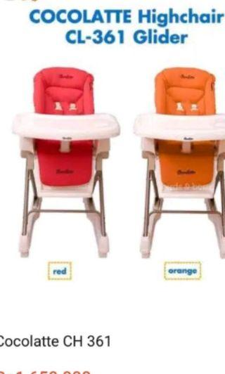 highchair cocolatte red preloved like new