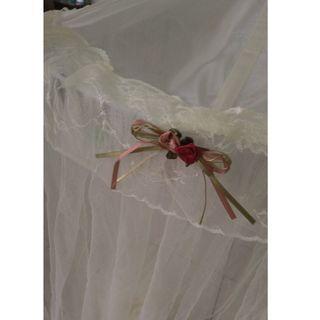 雙人床 米白色蚊帳mosquito net(長200公分)