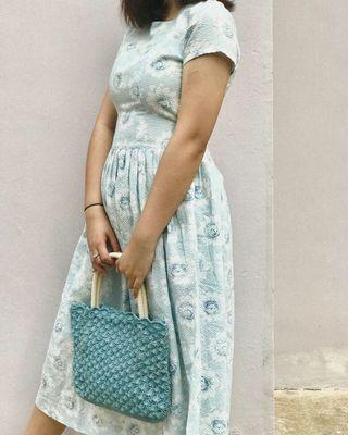 vintage blue sunflower dress