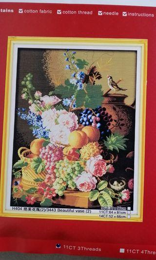 Cross stitch kit 11ct H404 Flower an fruits still life