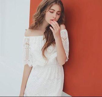 <全新> 甜美洋裝  輕婚紗  浪漫白蕾絲長洋裝