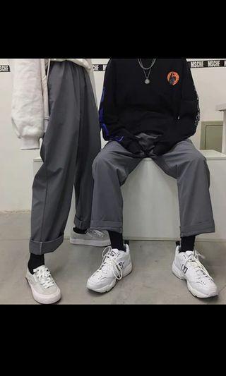 男女寬鬆灰色褲子