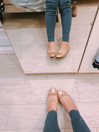 粉膚金娃娃鞋 真皮芭蕾舞鞋Ballerina 氣墊/不輸Chanel 和韓貨呦