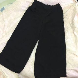 黑色雪紡八分寬褲