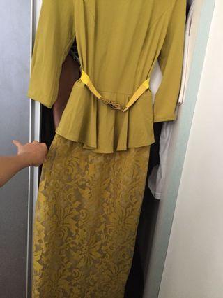 Dress panjang lengan 3/4 rok brukat / long dress