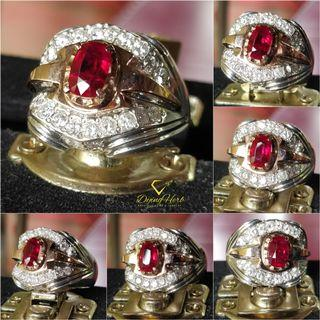 Natural Rose Gold top and Handmade Silver Ruby  and Diamonds Ring