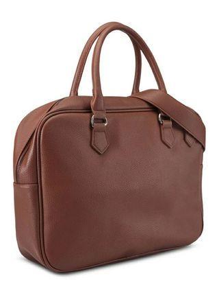 Pebbled Briefcase Tas kulit kantor laptop