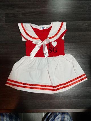 NDP Baby White Red Dress Costume SG Singapore National Ticket Celebration