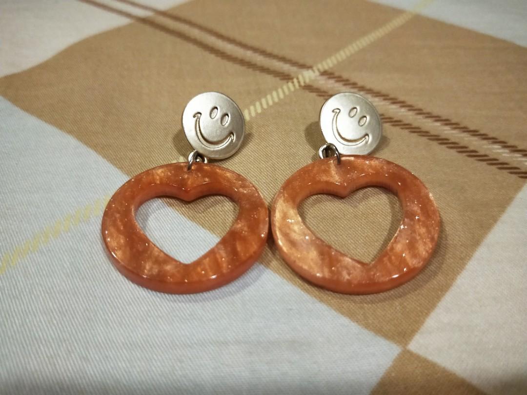 笑臉愛心耳環甜美耳環