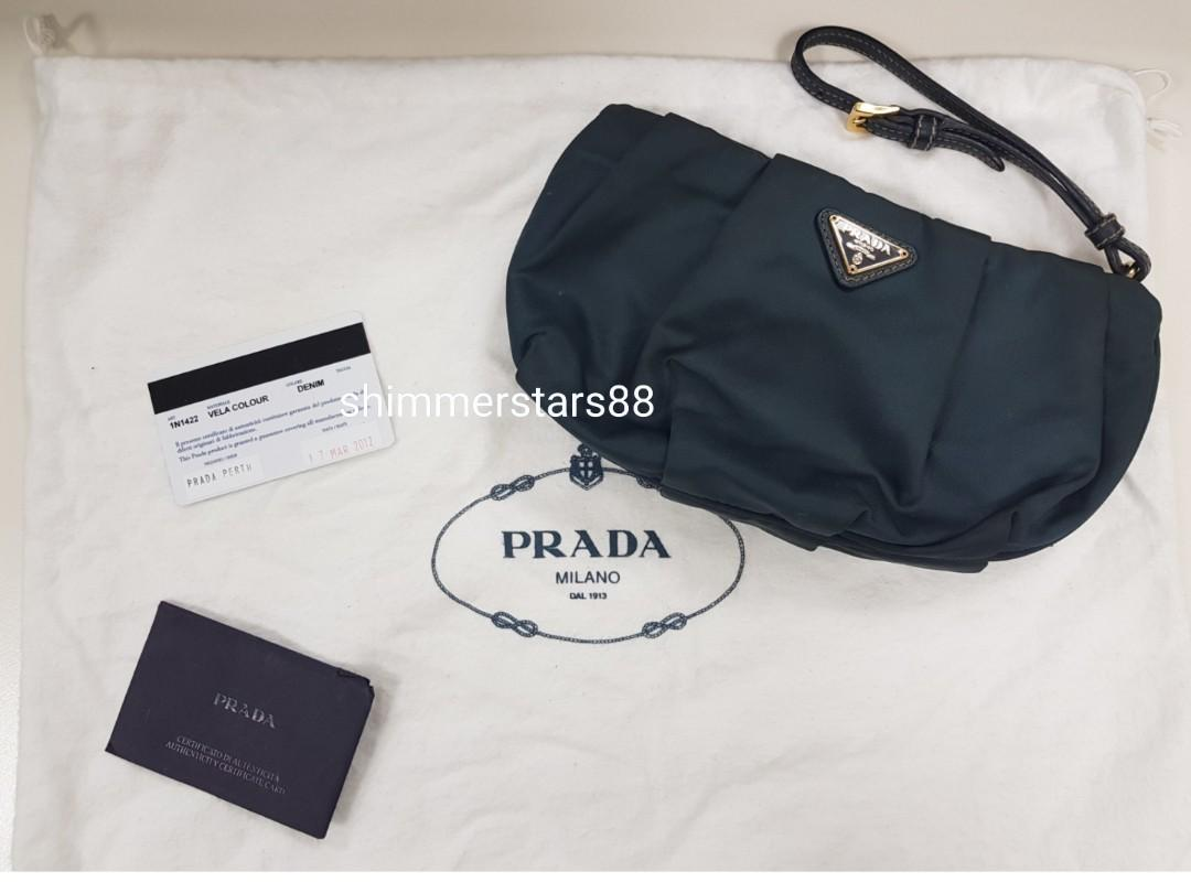 Authentic Prada Vela 1N1422 Nylon Clutch Wristlet make up pouch, Free Postage