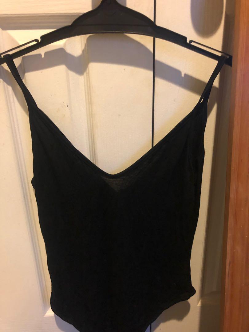 Black plunge bodysuit
