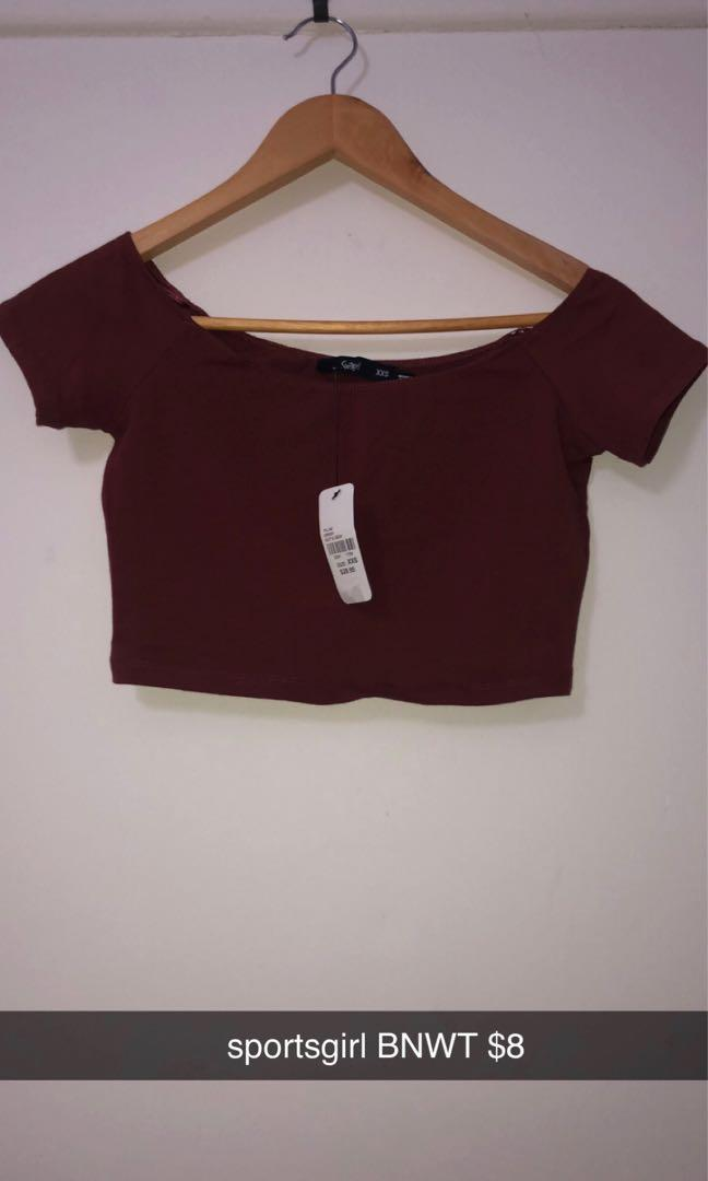 BWNT brick red sportsgirl crop top