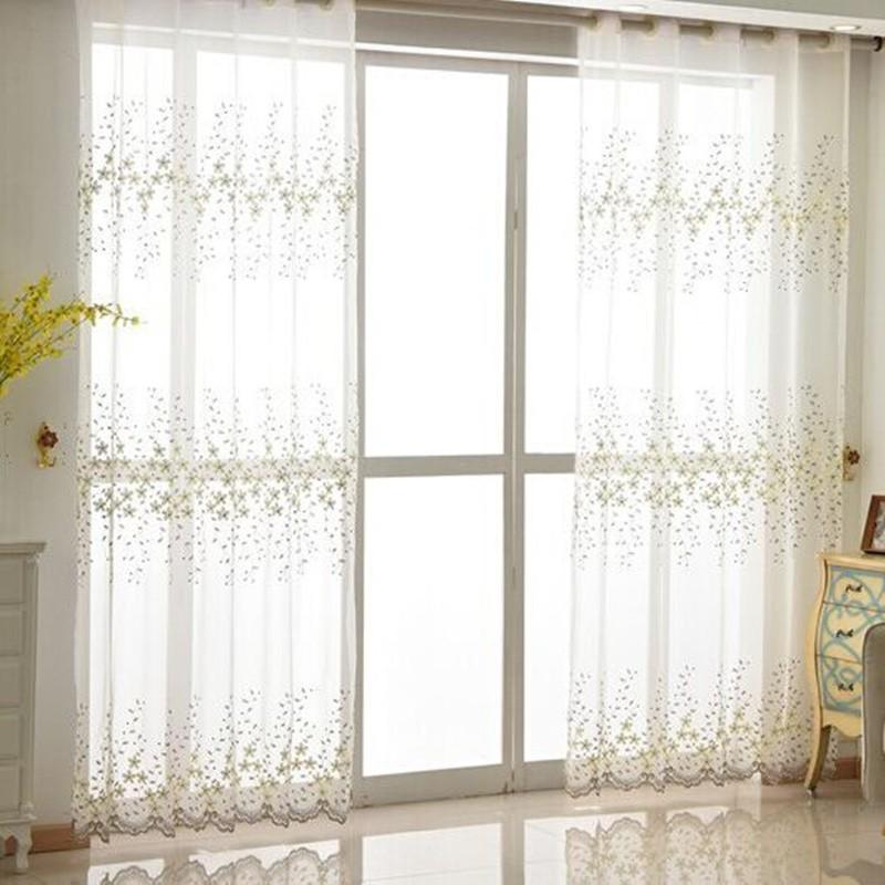 Embroidered Sheer Curtain Door Window Curtain Panel For Living