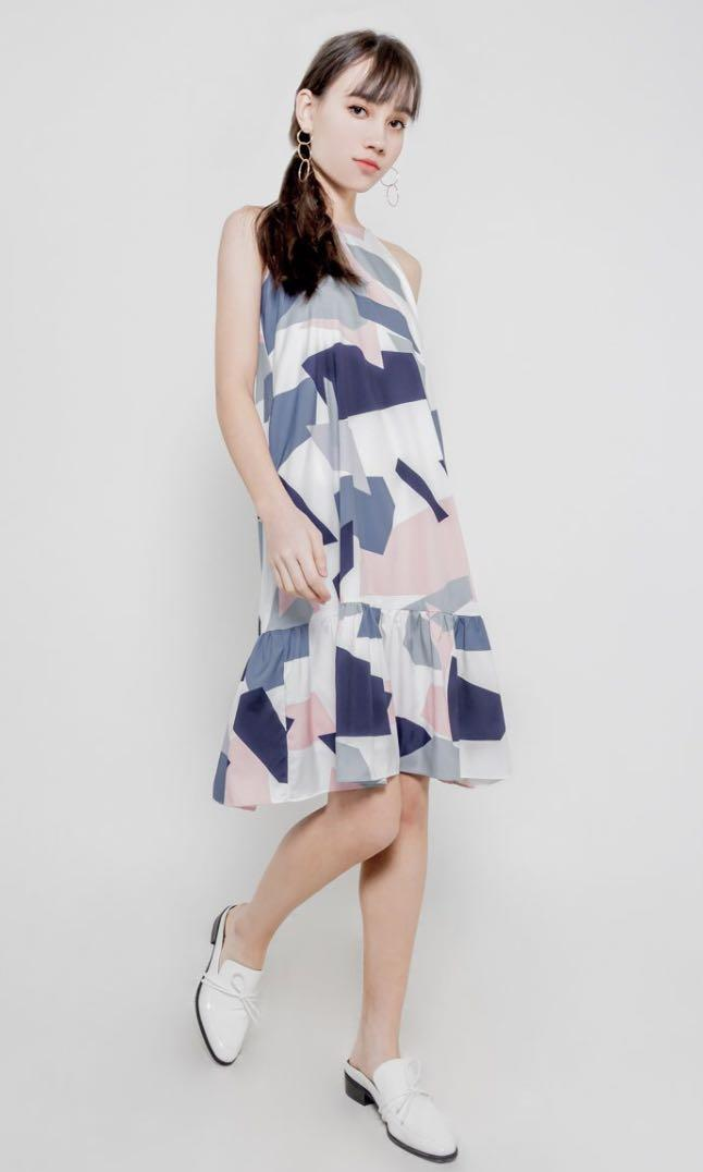 Geometric Ruffle Midi Dress