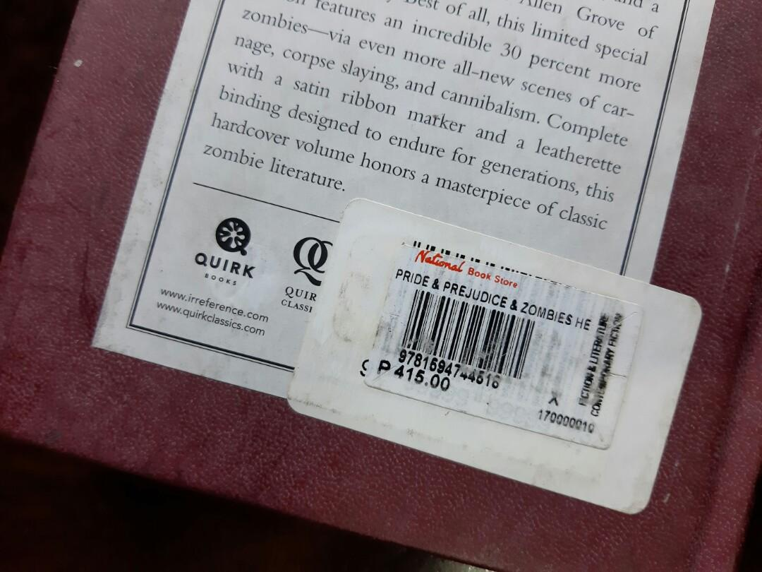 """HARDBOUND/NOT SEALED/BOOK FOR SALE! """"PRIDE AND PREJUDICE AND ZOMBIES"""" author: Jane Austen and Seth Grahame -Smith"""