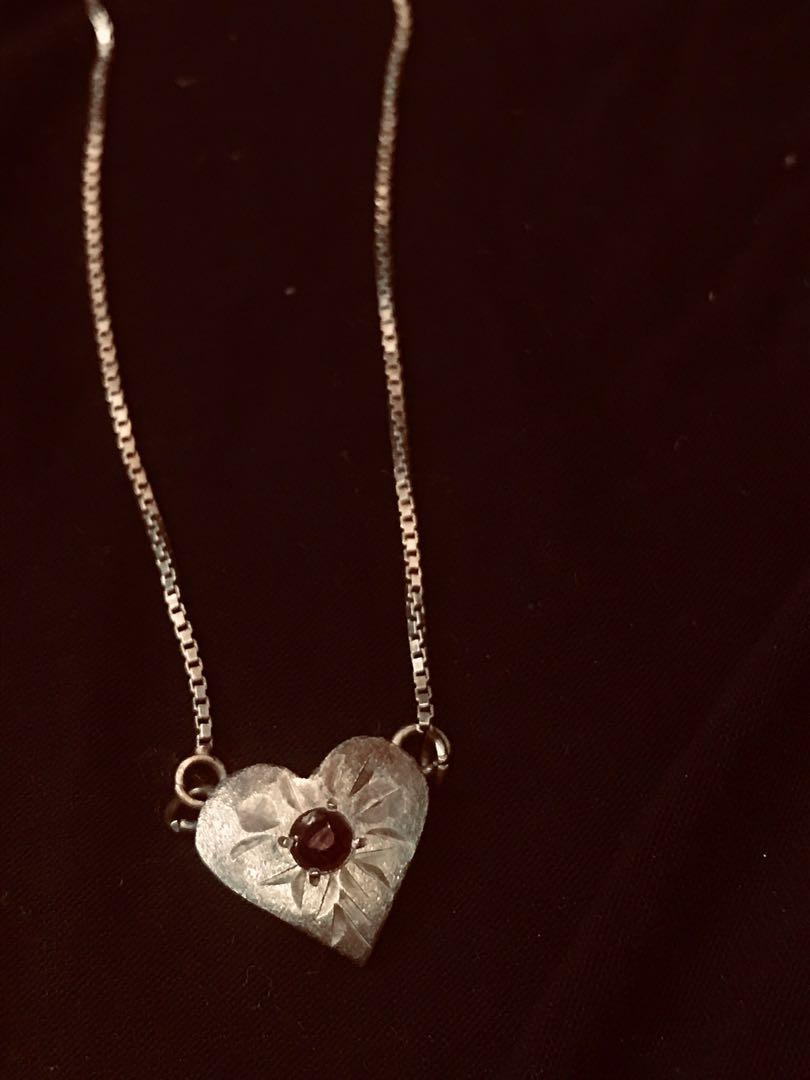 italy old handmade 925 silver necklaces with dark ruby