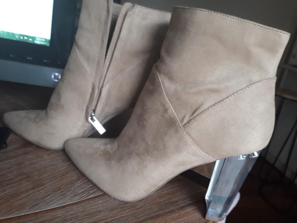 Jessica Simpson Tarek Suede Boots Ankle brown beige Heels size AU8 EU38