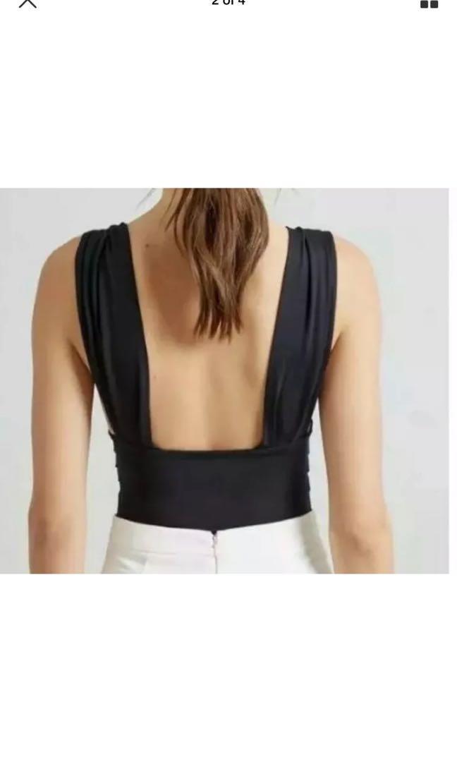 Kookai sleeveless plunge black slinky bodysuit size 1