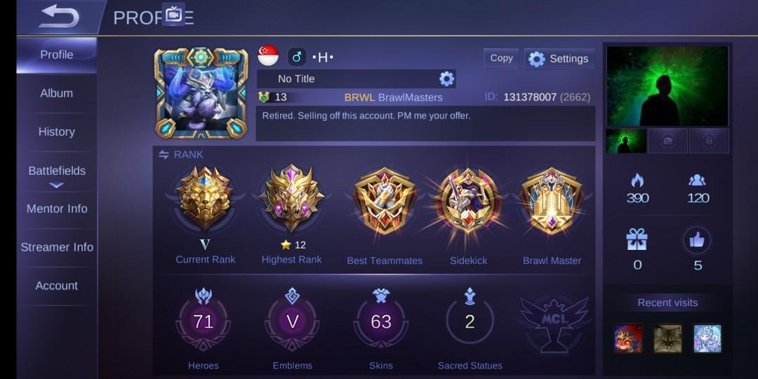 Mobile Legend Account - Tank/Support User (Android), Toys & Games ...
