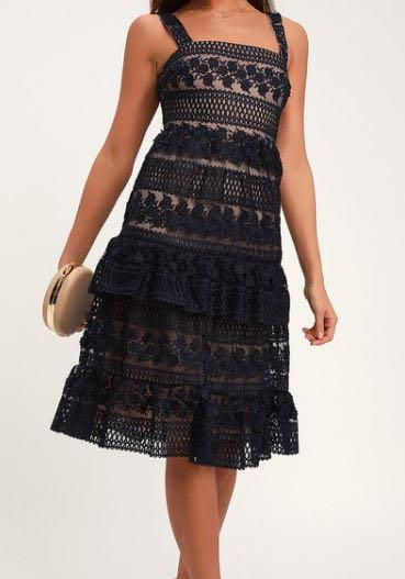 Navy blue lace midi dress- Size L