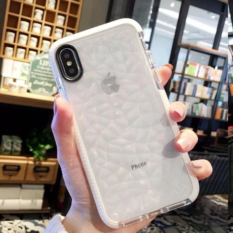 New iPhone X/Xs Clear Diamond Case w/ White Shockproof Bumper