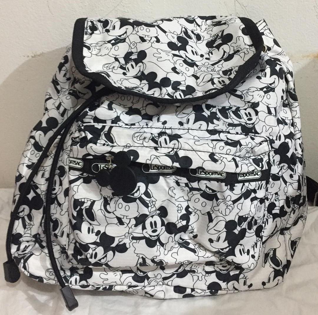 Original Tas LeSportsac Mickey Mouse Minnie Mouse Disney Backpack, Ransel, Lesportsac Bag, Tas Lucu, Tas Disney, Tas Mickey Minnie Mouse
