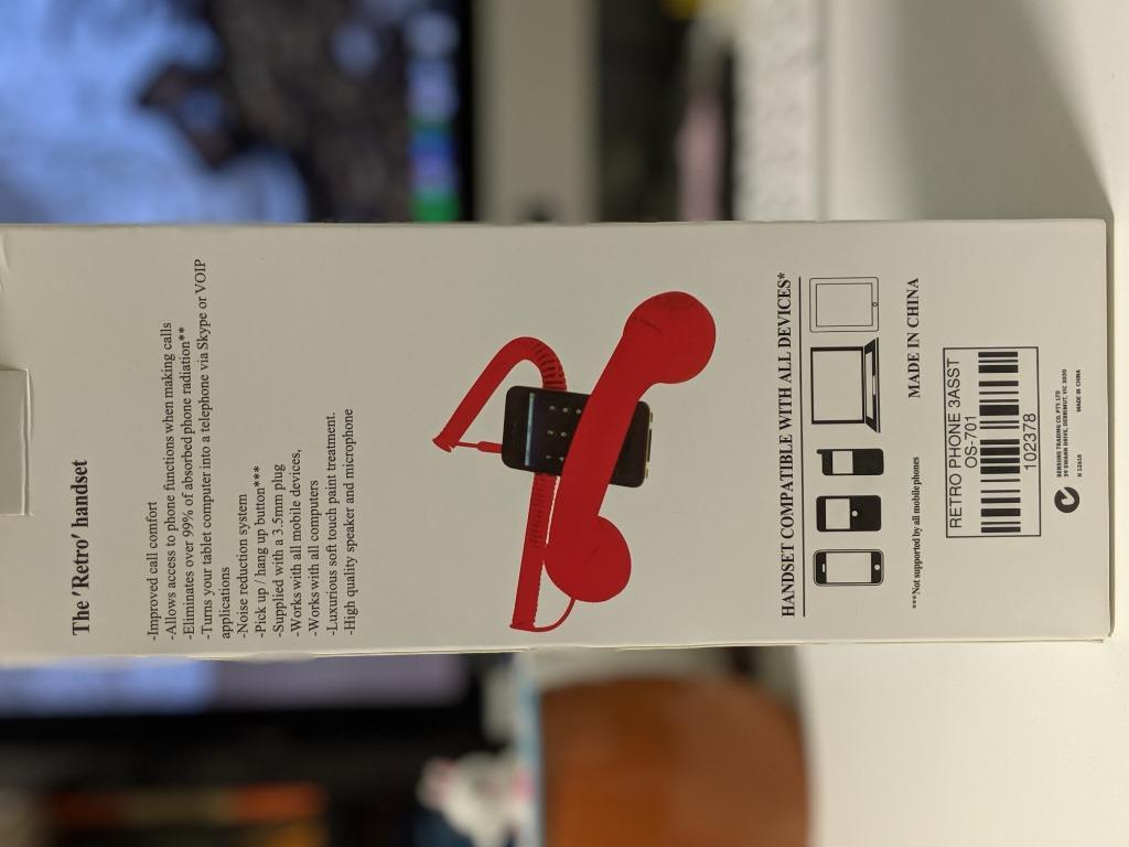 Retro Pop Phone Handset 3.5mm Jack White Mobile Telephone