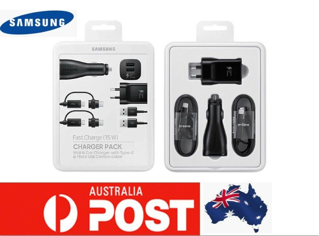 Samsung Pack Fast Wall Car Charger 2 USB C Cables Micro USB