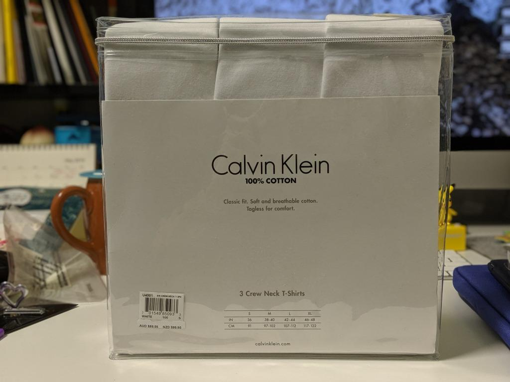 SMALL Ck Calvin Klein 3 pack t-shirts White Cotton Crew Neck