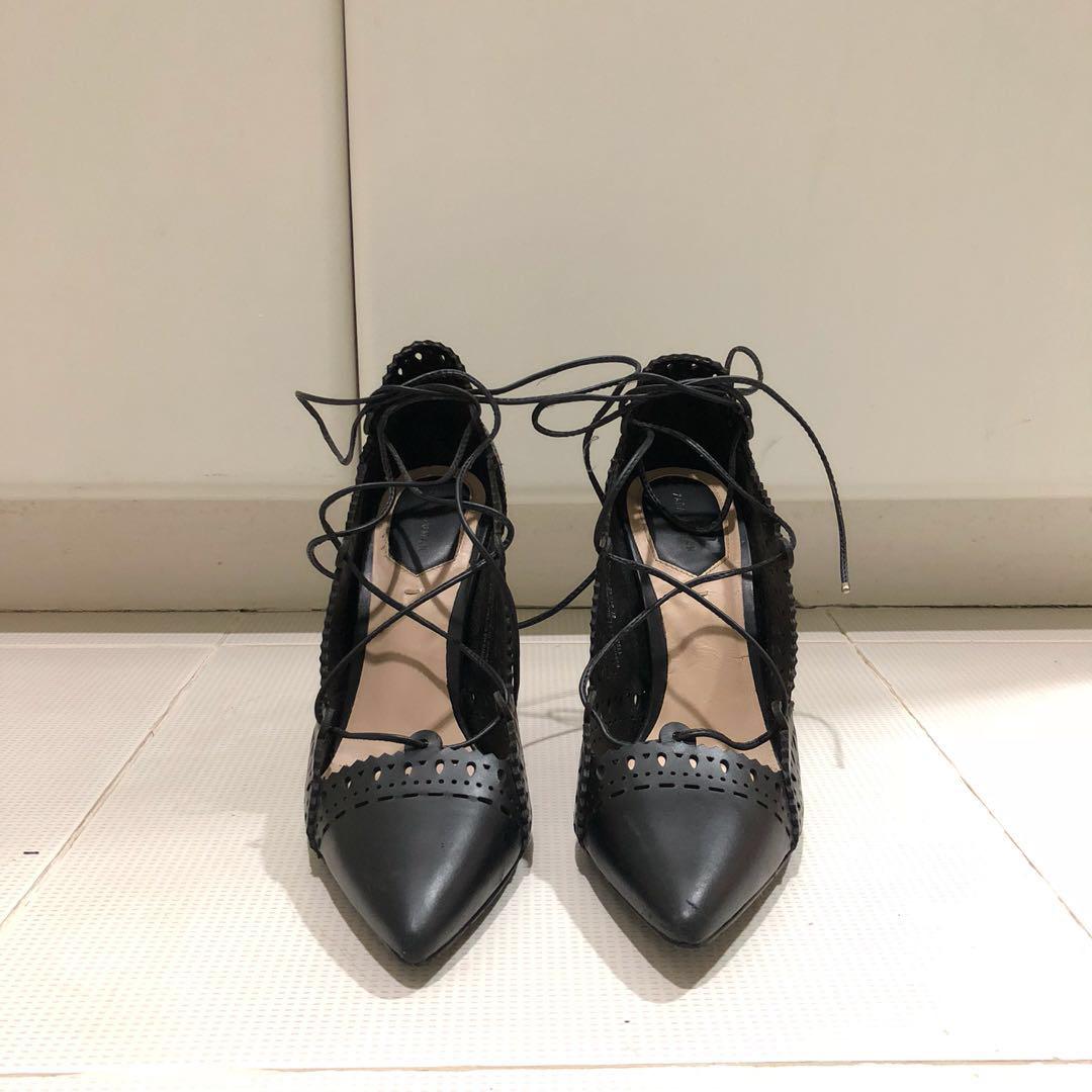 Zara lace up heels, Women's Fashion