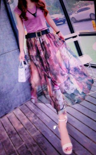 全新紫色上衣+中長裙