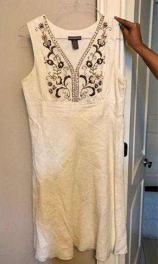 Linen dress with brown beading, size 10