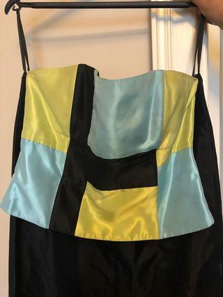 Strapless bustier and skirt ensemble, size 8