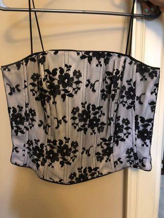 Black & white lace bustier, size 12
