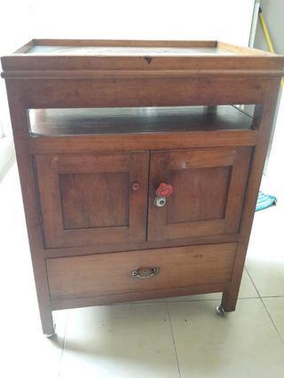 Lemari Meja Rak 1 Pintu Kayu Jati Asli Kecil Original Antik Belanda