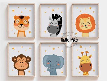Set of 6 Baby Safari Animal Wall Art