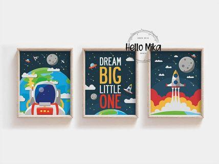 Set of 3 Space Poster for Kids