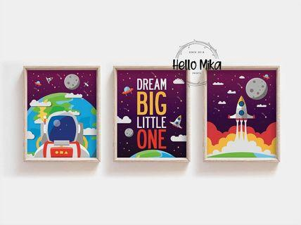 Set of 3 Space Poster for Children Rooms