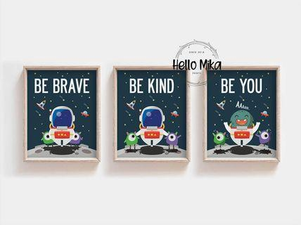 Set of 3 Quotes Space Theme Poster