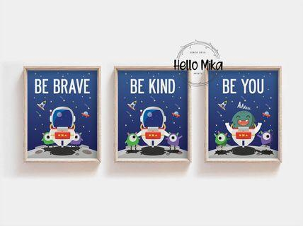 Set of 3 Quotes Space Poster
