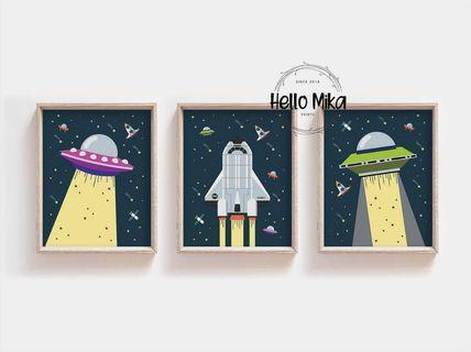 Set of 3 Rocket Space Blast Off Poster