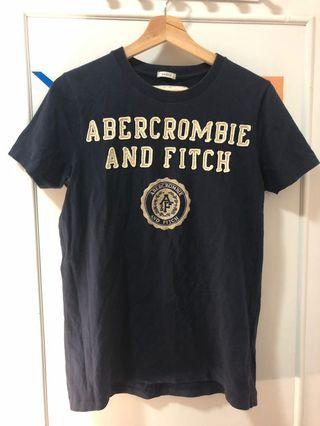 深藍色大logo厚版棉T Abercrombie&Fitch