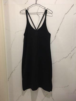 厚磅V領黑色背心裙